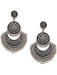 I Jewels Oxidized Silver Dangle & Drop Earrings For Women