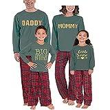 Weihnachten Schlafanzug Familien Outfit Mutter Vater Kind Baby Pajama Langarm Nachtwäsche Brief drucken Sleepwear Top Kariert Hose Set von Innerternet