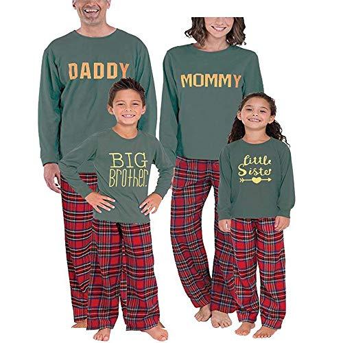 chen Pyjama Anzug,3PCS Christmas Baby Letter Romper+Pants+Hat Family Pajamas ()