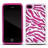 Zooky® rosa Zebra Hartplastik und Silikon Hülle / Schutzhülle / Cover für Apple Iphone 4/4s