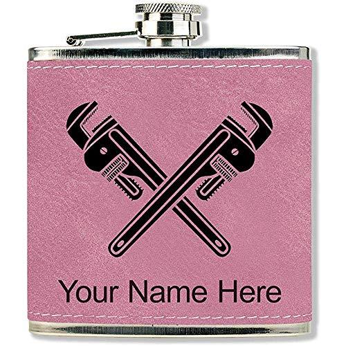 Kunstleder Flasche, Schraubenschlüssel, personalisierte Gravur enthalten (Pink)