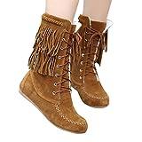 MYMYG Schnee Stiefel Flache Booties Frauen Solide Mode Winter Warme Lace Up Schuhe Quaste Warm Gefüttert Ankle Boots Walkingschuhe Freizeitschuhe Frau Mittleres Rohr Stiefel