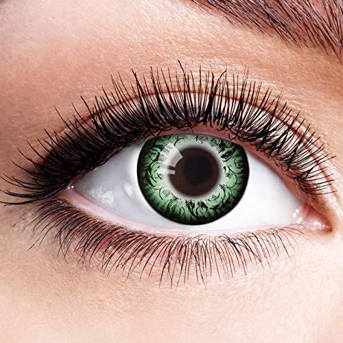 Farbige Kontaktlinsen Grün Motivlinsen Ohne Stärke mit Motiv Grüne Linsen Halloween Karneval Fasching Cosplay Kostüm Circle Green Steampunk Eye