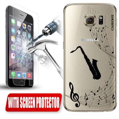 CUSTODIA Cover Case Sax Musica Nota per Samsung Galaxy S6 TRASPARENTE + PELLICOLA VETRO
