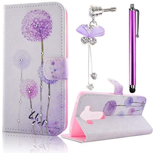 Sunroyal® Custodia Portafoglio in Pelle PU Borsa Per LG V10 Accessories Protettiva TPU Silicio Copertura Shell in Sintetica Leather a Libretto in Ecopelle Book Wallet Case Flip Folio Caso con Folding Tasca Ultra Slim Magnetico Chiusura Auto sleep/wake Case Cover + Ciondolo arco Viola di Shinning Strass Diamante 3.5mm Anti-dust Plug + Bling Metallo Capacitive Stylus Penna, Viola Dente di Leone Bianco in Basso - Auto Window Mount
