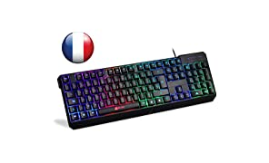 ⭐️Klim Chroma Clavier Gamers AZERTY Français Filaire USB - Haute Performance - Clavier Éclairé Chromatique Gaming Noir RGB PC Windows, Mac [ Nouvelle 2018 Version ]