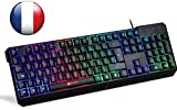 KLIM Chroma Clavier Gamer AZERTY FRANÇAIS Filaire USB - Haute Performance - Éclairé chromatique Gaming Noir RGB