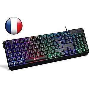 ⭐️KLIM™ Chroma Tastatur Gamer AZERTY Französisch mit USB Kabel – Hohe Leistung – bunte Beleuchtung ( Schwarz ) RGB PC Windows, Mac PS4 [ Neue Version ]