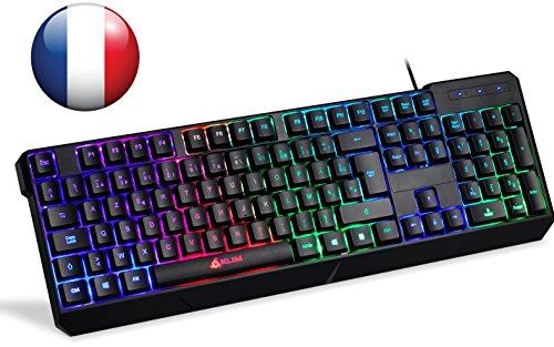 Klim Chroma Clavier Gamers AZERTY FRANÇAIS Filaire USB - Haute Performance - Clavier Éclairé Chromatique Gaming Noir RGB PC Windows, Mac PS4 [ Nouvelle 2018 Version ]