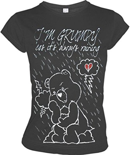 DIE GLÜCKSBÄRCHIS Retro Comic Girl T-Shirt I'M GRUMPY... Dunkelgrau Gr. L