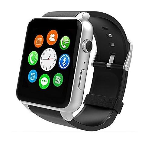 yarrashop Bluetooth montre Smart Watch avec écran tactile Moniteur de fréquence cardiaque Podomètre Appareil photo HD Carte TF de Sommeil compatible avec Android et iOS Système
