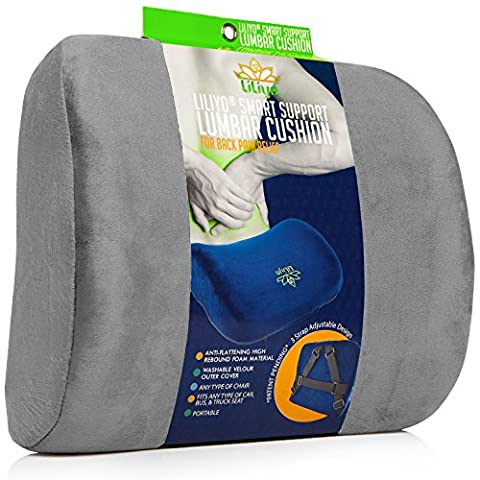 Smart Lumbar Support Back Cushion Pillow - for Lower Back Pain Relief by Liliyo, 3-Strap System (Gray)