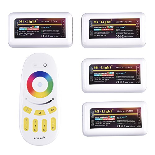 Mi-Light von Remote Control Kit: 4 x 2.4G 4-Zone LED RGBW RF Wireless Controller with 1 x RF Wireless 4-Zone LED RGBW Remote Control in Pack 2.4 G Kit