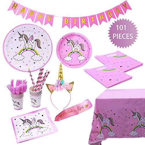 YZEO Unicorn Birthday Party Supplies Kit Splendida Rosa Piatti, Bicchieri,  tovaglioli, cannucce, Utensili da Cucina, con bandierine, Rosa Satin Sash,