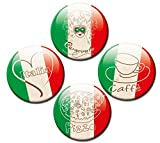 GUMA Magneticum Kühlschrankmagnete Flagge Italien 4er Set Fahne Ø 50 mm Magnete Länder-Flaggen mit Motiv Liebe