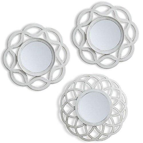 L.A.M.A. Lama Juego de Espejos Pared, Blanco, 75x25x1.5 cm, 3 Unidades, plástico