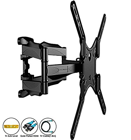 Invision® Double Arm TV Wall Bracket Mount - For 24 - 55 Inch LED LCD Plasma & Curved Screens - Tilt Swivel Feature - Includes 1080p HDMI Cable & Spirit Level *Please Confirm Your TV VESA Mounting Holes Before Purchase*