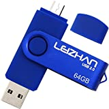 LEIZHAN PenDrive 2.0 64GB Chiavetta USB Memoria Stick OTG(On the Go) 2 in 1(Micro USB & USB 2.0) Flash Drive Supporto Telefono Android Tablet PC Blu