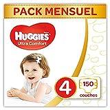 Huggies - Ultra Comfort - Couches Bébé Unisexe - Taille 4 (7-18 kg) x150 Couches - Pack 1 Mois de Consommation