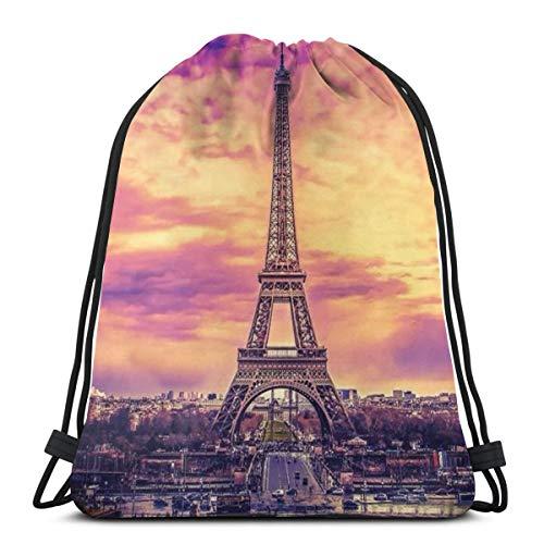 Paris, Eisenturm, New York Flower3 Drawstring Rucksack Rucksack Umhängetaschen Leichte Sporttasche zum Wandern Yoga Gym Schwimmen Travel Beach