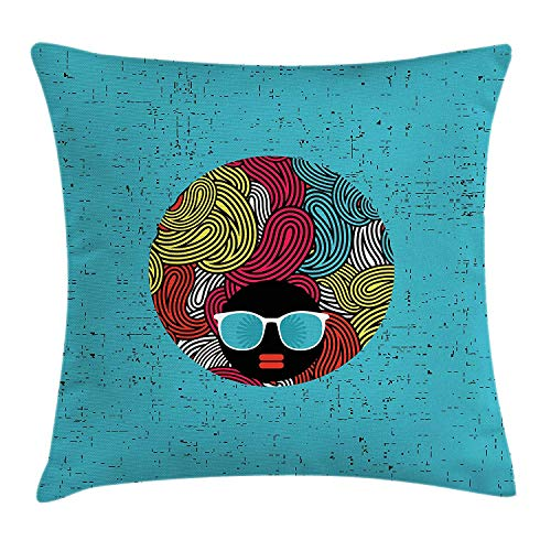 Black Woman Throw Pillow Cushion Cover, Abstract Female Portrait with Strange Curly Hair Sunglasses Woman of Color, Decorative Square Accent Pillow Case, 18 X 18 inches, Multicolor