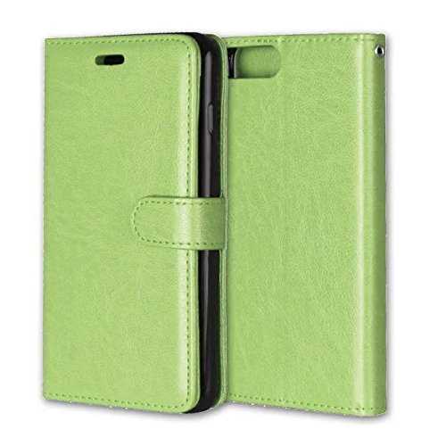 iPhone Case Cover Normallack-waagerechte Wölbung PU-lederner Schlag-Standplatz-Fall mit 3 Karten-Bargeldschlitz und Foto-Feld für IPhone 7 Plus ( Color : Brown , Size : IPhone 7 Plus ) Green