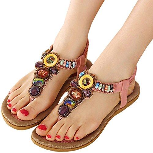 Minetom Damen Sommer Bohemian Schuhe Y-Strap Thong Sandalen Sandaletten Zehentrenner (Pink EU 40) XRaJPj