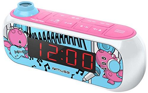 Muse M-167 KDG Kinder-Wecker mit digitalem UKW Radio und Sternen-Projektion (2 Weckzeiten, Display mit Dimmer, Aux-in) Rosa/Weiß mit Lustigen Comic-Motiven