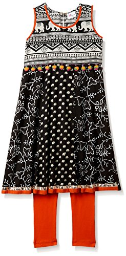 Elaisha Girl's Regular Fit Cotton Salwar Kurta Set (MNM-08C-BLACK-5 - 6 years)