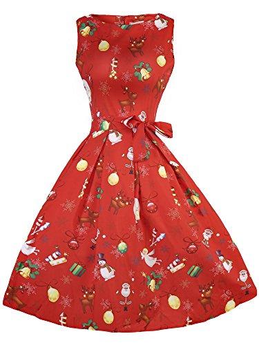 eid Damen Rockabilly Kleid Festlich Partykleid Cocktailkleid Ärmellos Weihnachtsmann Druck (Xmas-1, SMALL) (Damen Weihnachtsmann-kostüm)