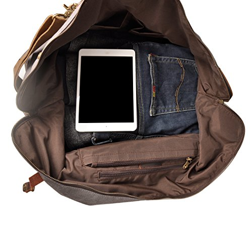 Borsone Borsone da viaggio in tela vinpak notte Weekend Satchel borse borsa borse, grigio (Grigio) - V-203 marrone