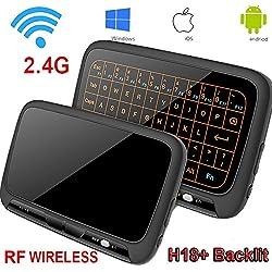 Combo mini clavier, souris sans fil rétroéclairée et pavé tactile, panneau complet grande surface de contact support pour plusieurs gestes des doigts Wifi 2,4 G