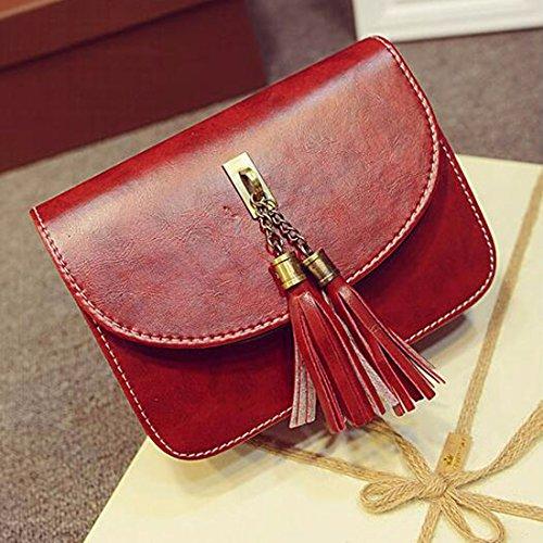 Mode fur Frauen Tassel beilaeufige lederne Umhaengetasche Shulder Tasche Messenger Handtasche Rotwein