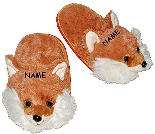 """Hausschuhe / Pantoffel - """" lustiger Fuchs """" - incl. Name - Größe 38 - 40 - 41 - 42 - Plüschhausschuh - super weich - für Kinder & Erwachsene - Tierhausschuhe - Tier / Füchse / Waldtier - Hausschuh - P"""