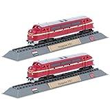 MagiDeal 2pcs Eisenbahn Zug Lokomotive Dampf-Lok Modell Set - Rot #1