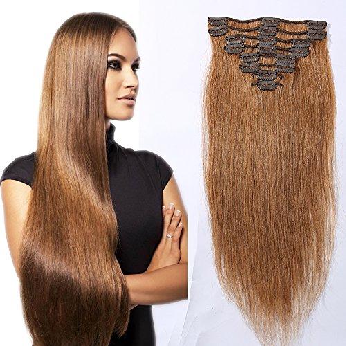 8 fasce clip extension human hair 100% remy capelli veri 18 clip - #30 castano ramato chiaro - estensione tutta la testa per feste - 10