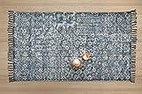 Cadeau Nouvel An, Tapis Tisse A La Main En Coton Doux Tapis Avec Design Traditionnel Salon De La Maison Chambre Tapis Decoration (Bleu1)