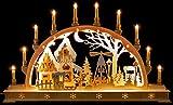 Schwibbogen Weihnachtsmarkt mit LED-Innenbeleuchtung - 78×45 cm