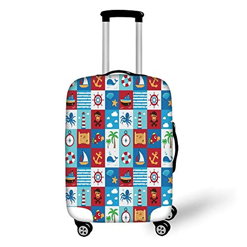 Travel Luggage Cover Suitcase Protector,Kids,Cartoon Style Nautical Icons and Animals Maritime Sea Life Pirates Joyful Collection Decorative,Multicolor,for Travel M