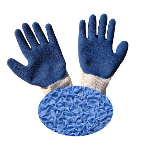 G & F 1511L-10 Large Crinkle Pattern Men's Rubber Latex Coated Work Gloves for Construction – Blue (120 Pair)