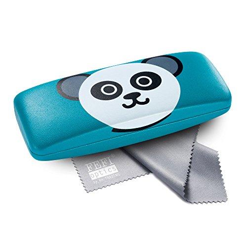 FEFI Kinder-Brillenetui mit lustigen Tiermotiven - Hardcase mit Metallscharnier - Inklusive hochwertigem Brillenputztuch/Mikrofasertuch (Türkis)