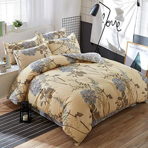 Anmou EIN Bettbezug Set mit Bettwäsche Einfarbig Einfache Aloe Baumwolle / 1,5M-2,0M Bett/Männer Und Frauen Baumwolle Bett Vier Sätze Bettwäsche@Gold_1,8 M Bett - Gold-metall-bett-satz