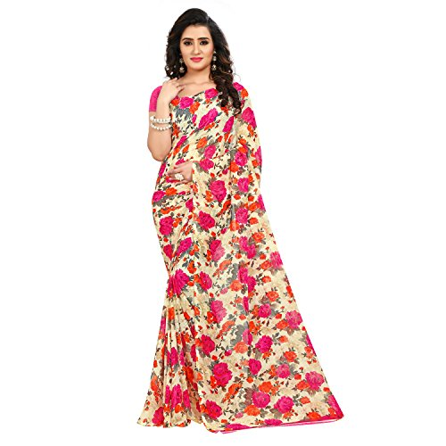 Kashvi Sarees Faux Georgette Printed Pink Color With blouse Piece ( 1437_3)
