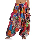 Princess of Asia Weite patchwork Hippie Hose Haremshose Aladinhose Pumphose für Damen und Herren