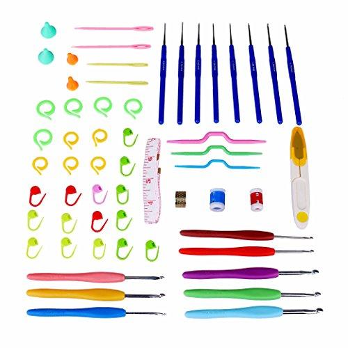 Häkelnadel,Häkelnadeln Set Aluminium Häkelhaken Nadeln Zubehör Kit mit Bunten Weichen Gummi Griff Verpackt in PVC-Box für Mutter Frauen Mädchen Geschenk