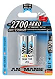 ANSMANN wiederaufladbar Akku Batterie Mignon AA Typ 2700mAh NiMH hochkapazitiv Hohe Kapazität ohne Memory-Effekt Profi Digital Kamera-Akkubatterie 2er Pack