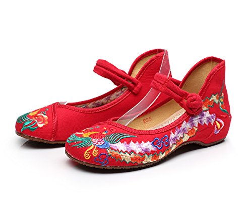 Meta-U Zapatos bordados mujeres - Zapatos de Mary Jane - Negro, talla 40 EU