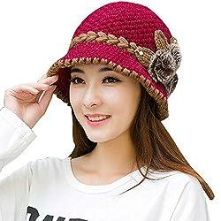 YWLINK Mode Damen Winter Warm Mit Fellbommel MüTzen HäKeln Gestrickte Blumen Dekoriert Ohren Hut (Einheitsgröße,Heiß Rosa)
