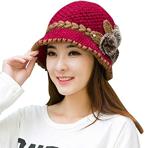 Moginp Frauen Barett Winter Warm Crochet Gestrickte Blumen Verziert Ohren Hut (Hot Pink) -