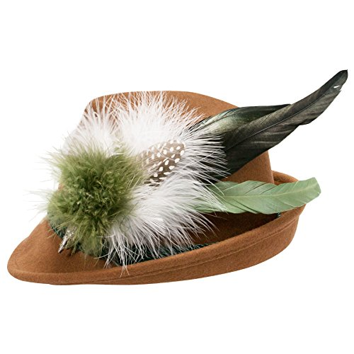 Alpenflüstern Damen Filzhut Trachtenhut braun mit Hutfeder Farbenfroh ADV07500M50 grün